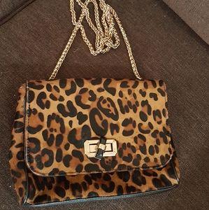 Leopard print gold chain crossbody shouldre bag